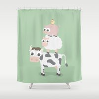 farm Shower Curtains featuring The farm by Ainaragm