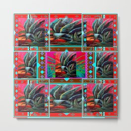 RED WESTERN DESERT AGAVE CACTUS PAINTING PATTERN ART Metal Print