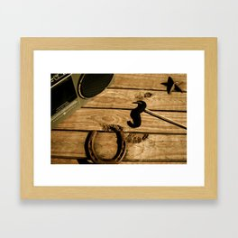 I mustache you to listen to the music Framed Art Print