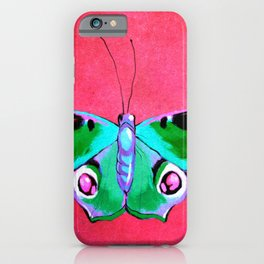 Blue and Green Butterfly on Pink Background iPhone Case