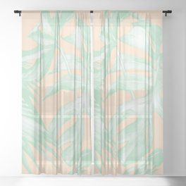 Tropical Palm Leaves on Pastel Coral II Sheer Curtain