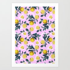 Geometric and Lemon pattern Art Print