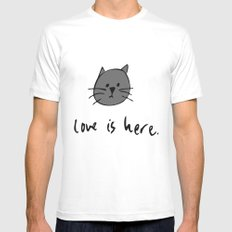 Love is Here (Grey Cat 2) White Mens Fitted Tee MEDIUM
