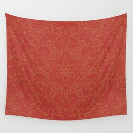 Sonora Brown Rust Mandala With Red Well Read Backdrop Wall Tapestry