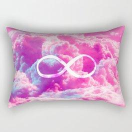 Girly Infinity Symbol Bright Pink Clouds Sky Rectangular Pillow