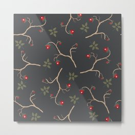 Red berry, Christmas Brier Spray Pattern. Hand drawn, whimsical, traditional style Metal Print