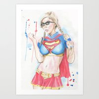supergirl Art Prints featuring Supergirl by James Murlin