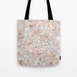 Mint Blush & Rose Gold Metallic Marble Texture Tote Bag