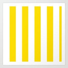 Classic Cabana Stripe in Lemon Yellow + White Art Print