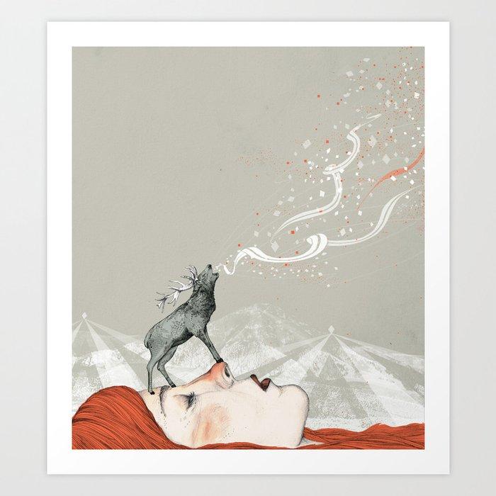 Deer Lady! Art Print