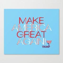 Make America Great Again w/ Trump Trumpet & Flag logo. Canvas Print