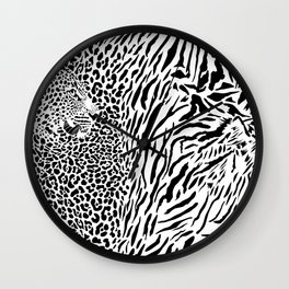 Leopard and tiger and pattern background Wall Clock