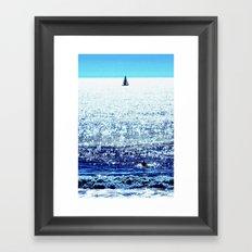 Sailboat and Swimmer Framed Art Print