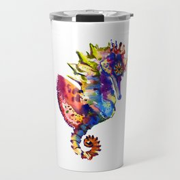 Rainbow Seahorse, seahorse art design Travel Mug