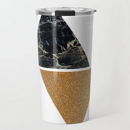 Dark marble and bronze geo Travel Mug