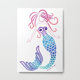 Tribal Mermaid Metal Print