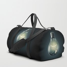 Birth of an Idea / 3D render of man inside light bulb Duffle Bag