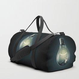 Birth of an Idea / 3D render of man inside light bulb Duffle Bag