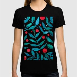 Watercolor berries and branches - turquoise and red T-shirt