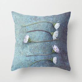 Daisies in a row Throw Pillow