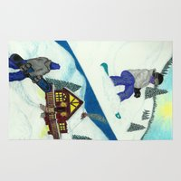 snowboarding Area & Throw Rugs featuring Snowboarding ; Putting In Your Eight Hours by N_T_STEELART