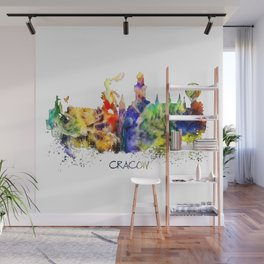 Cracow skyline color Wall Mural