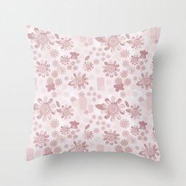 Pop Art Floral in Mauve Throw Pillow