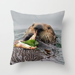Sea Otter Crab Breakfast Throw Pillow