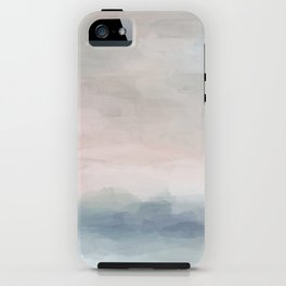 Blush Pink Mint Sky Baby Blue Abstract Ocean Sky Sunrise Wall Art, Water Clouds Painting iPhone Case