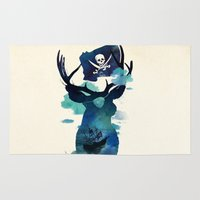 captain Area & Throw Rugs featuring Captain Hook by Robert Farkas