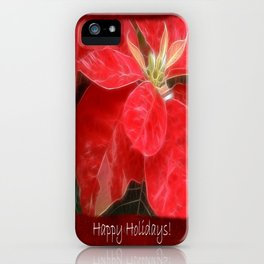 Mottled Red Poinsettia 1 Ephemeral Happy Holidays P5F5 iPhone Case