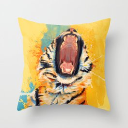 Wild Yawn - Tiger portrait Throw Pillow