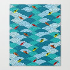 wave and fish Canvas Print