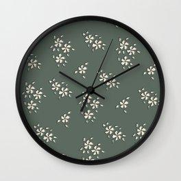 Khaki Tiny Flowers In Green Wall Clock