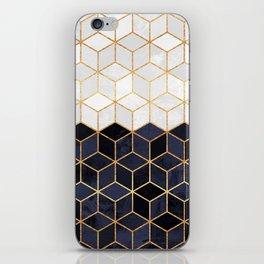 White & Navy Cubes iPhone Skin
