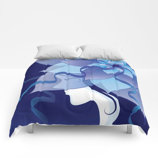 The Lady in Blue Comforters