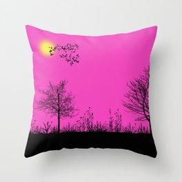 Pink panorama Throw Pillow