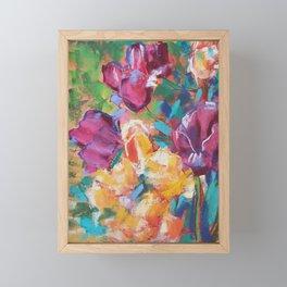Dancing tulips in the grass Framed Mini Art Print