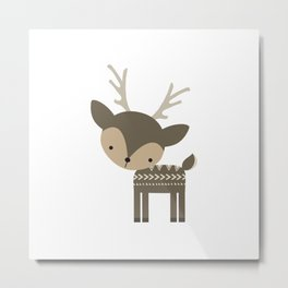 Woodland Deer Metal Print
