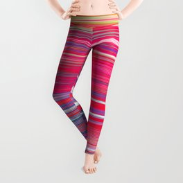 pink abstract with horizontal stripes Leggings