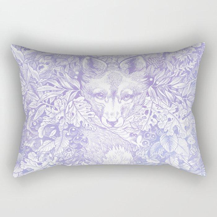Pastel Purple Hiding Fox Drawing Rectangular Pillow
