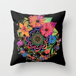 Neon Mandala and Flowers Throw Pillow