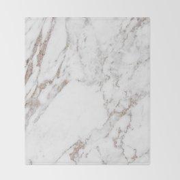 Rose gold shimmer vein marble Throw Blanket