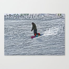 Cutting Corners - Winter Snow-boarder Canvas Print