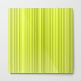 Lemon green striped pattern. Metal Print