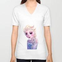 frozen elsa V-neck T-shirts featuring Elsa Frozen by Kaori