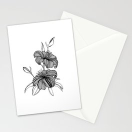 lilies Black & white Stationery Cards