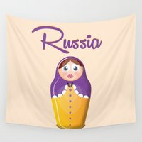 russia Wall Tapestries featuring Russia Wooden Doll Travel Poster by Nick's Emporium