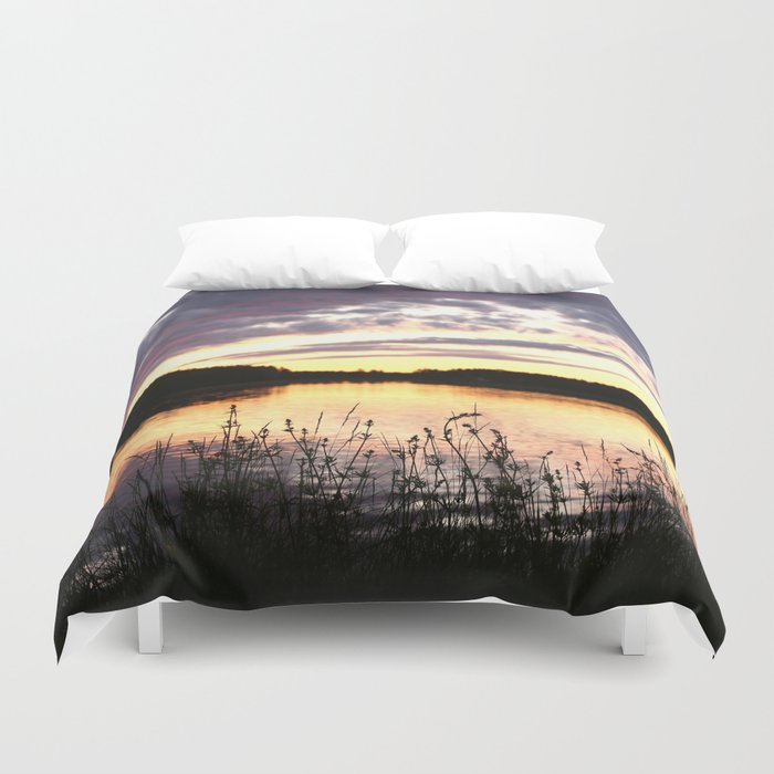 Sunset By The Lake  Duvet Cover