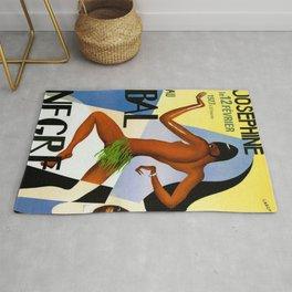 1920's Paris France Josephine Baker Jazz Revue Bal Negre Poster Rug